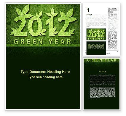 Green Year Word Template, 09487, Nature & Environment — PoweredTemplate.com