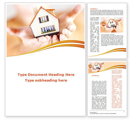 House In Hands Word Template, 09491, Construction — PoweredTemplate.com