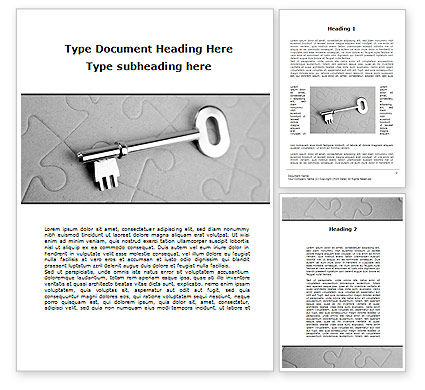 Consulting: Key To Puzzle Word Template #09497