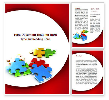 Colorful Puzzle Pieces Word Template, 09505, Consulting — PoweredTemplate.com