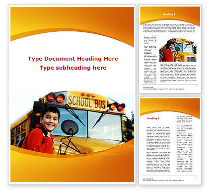 School Bus With Happy Pupil Word Template, 09506, Education & Training — PoweredTemplate.com