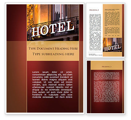 Hotel Signboard Word Template, 09516, Business — PoweredTemplate.com