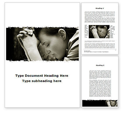Praying Girl Word Template, 09520, Religious/Spiritual — PoweredTemplate.com
