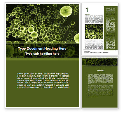 Medical: Green Bacteria Word Template #09527