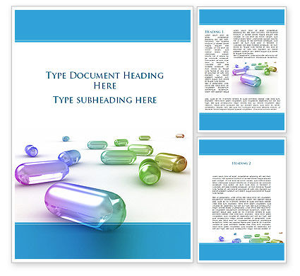 Medical: Blue Pilule Word Template #09541