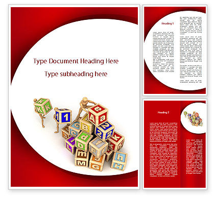 Educational Cubes For Childrens Word Template, 09543, Consulting — PoweredTemplate.com