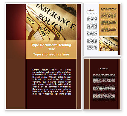 Insurance Policy Word Template, 09546, Legal — PoweredTemplate.com