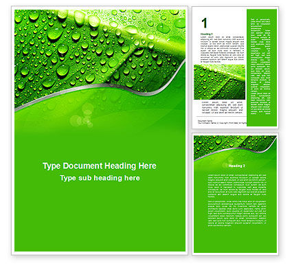 Nature & Environment: Dew In The Sun On A Green Leaf Word Template #09551