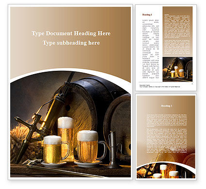 Beer Barrel Word Template, 09554, Food & Beverage — PoweredTemplate.com