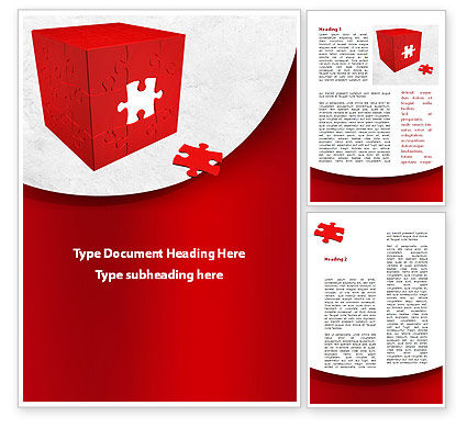Red Cube Puzzle Word Template, 09561, Consulting — PoweredTemplate.com
