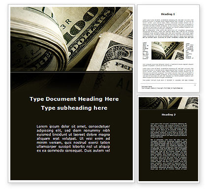 One Hundred Dollars Print Word Template, 09569, Financial/Accounting — PoweredTemplate.com