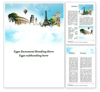 Holiday/Special Occasion: Vakantie In Europa Word Template #09585