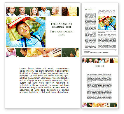 Primary School Kids Word Template, 09587, Education & Training — PoweredTemplate.com
