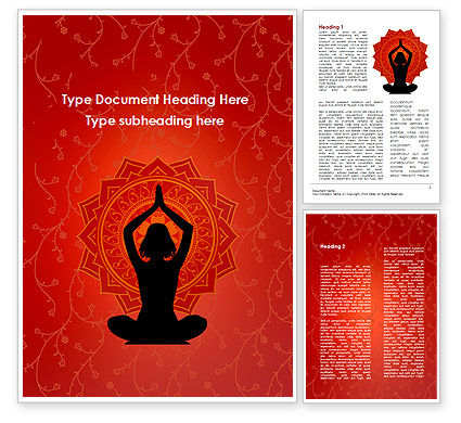 Meditation Yoga Word Template, 09595, Sports — PoweredTemplate.com