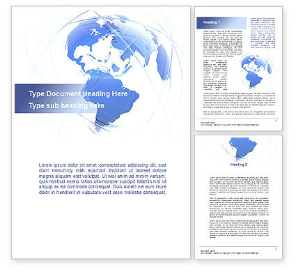 Global: Blue Globe Silhouette Word Template #09605