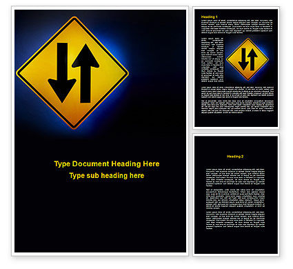 Two-Way Traffic Word Template, 09622, Consulting — PoweredTemplate.com