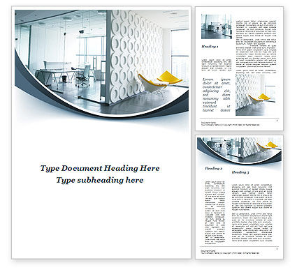 Modern Office Space Word Template, 09624, Construction — PoweredTemplate.com