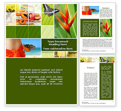 Exotic Island Vacation Word Template, 09627, Holiday/Special Occasion — PoweredTemplate.com