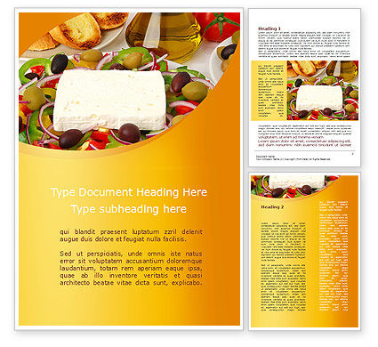Food & Beverage: Country Meal Word Template #09629