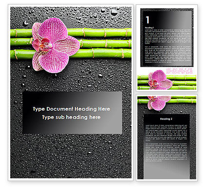 Nature & Environment: Orchid On Bamboo Word Template #09637