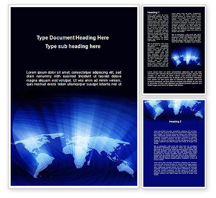 Global: Modelo do Word - mapa do mundo em azul #09638