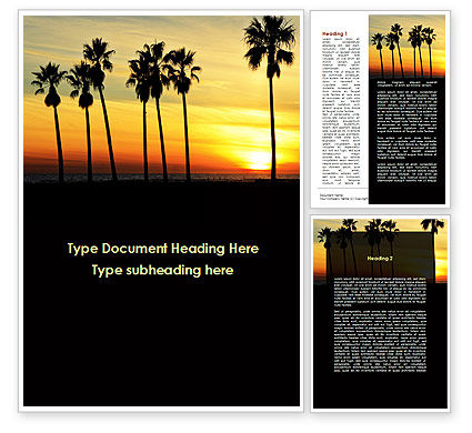Sunset On The Tropic Island Word Template, 09639, Holiday/Special Occasion — PoweredTemplate.com