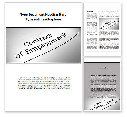 Contract Of Employment Word Template, 09645, Legal — PoweredTemplate.com