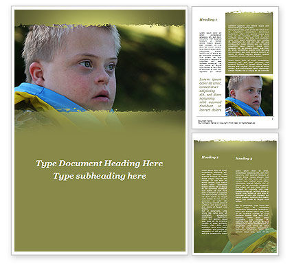 Mentally Challenged Boy Word Template, 09648, People — PoweredTemplate.com