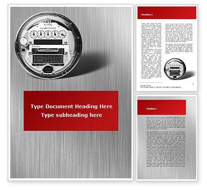 Electric Meter Word Template, 09654, Utilities/Industrial — PoweredTemplate.com