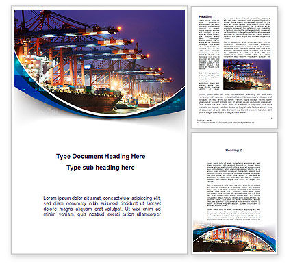 Cars/Transportation: Port Of The Seas Word Template #09655