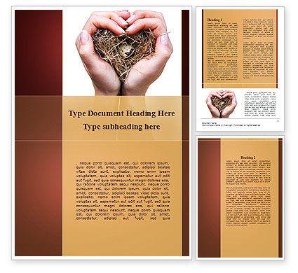 Bird's Nest Word Template, 09662, Nature & Environment — PoweredTemplate.com
