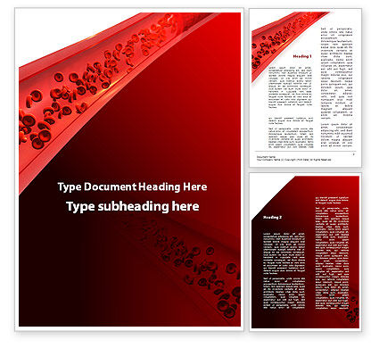 Medical: Red Blood Cells In A Blood Vessels Word Template #09680