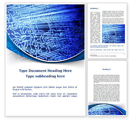 Print Circuit Board Word Template, 09688, Technology, Science & Computers — PoweredTemplate.com
