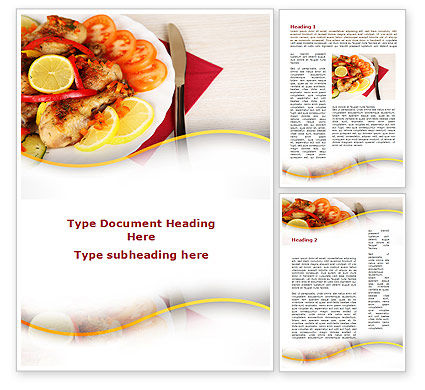 Fried Chicken Word Template, 09689, Food & Beverage — PoweredTemplate.com