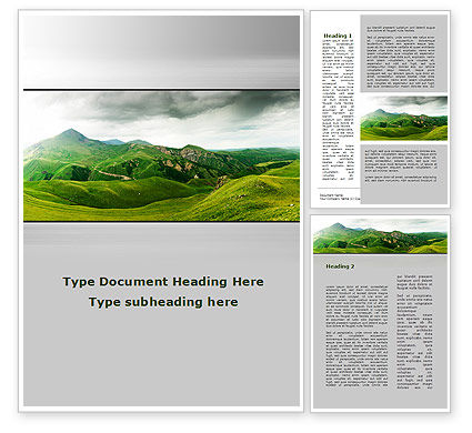 Nature & Environment: Clouds Landscape Word Template #09696