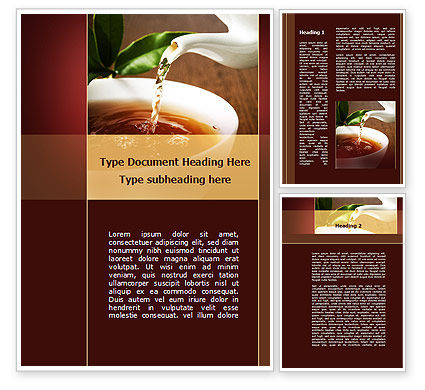 Stream Of Tea Word Template, 09698, Food & Beverage — PoweredTemplate.com