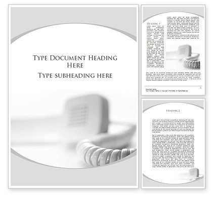 Telephone Handset Word Template, 09700, Telecommunication — PoweredTemplate.com