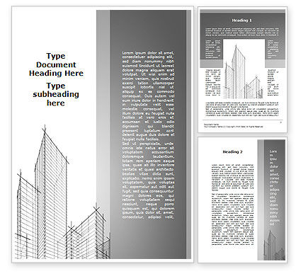 Construction: Sketch Of Skyscraper Word Template #09705