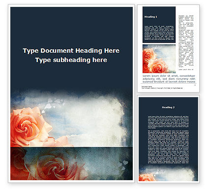 Tender Roses Word Template, 09723, Holiday/Special Occasion — PoweredTemplate.com