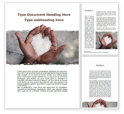 Food & Beverage: Rice Heart In Palms Word Template #09724