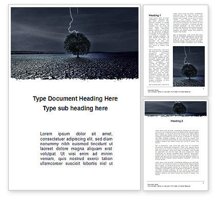Nature & Environment: Stormachtig Weer Word Template #09730