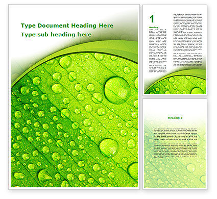 Green leaflet In Drops Of Dew Word Template