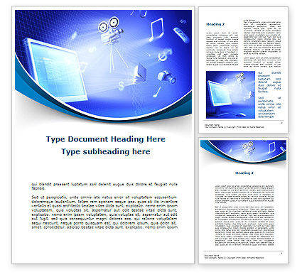 Multimedia Computer Word Template, 09744, Technology, Science & Computers — PoweredTemplate.com