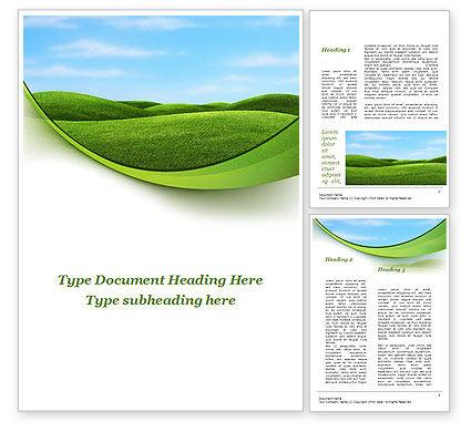 Green Fields Word Template, 09745, Nature & Environment — PoweredTemplate.com