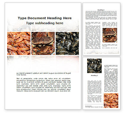 Food & Beverage: Shrimps And Crabs With Oysters Word Template #09746