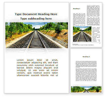 Cars/Transportation: Railway To The Beautiful Land Word Template #09756
