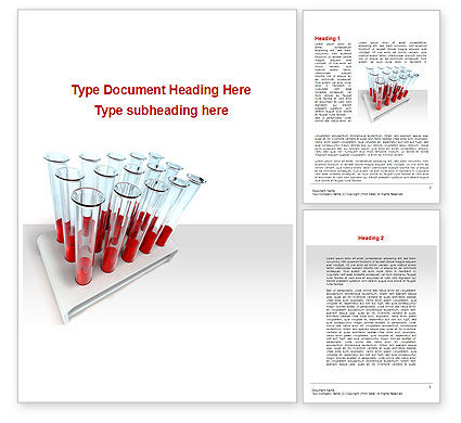 Medical: Blood Test Samples Word Template #09762