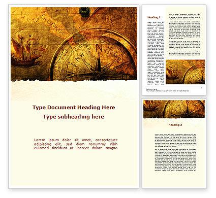 America: Modelo do Word - mapa antigo com compasso #09769