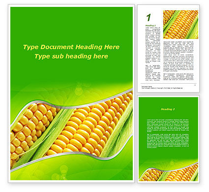 Ear Of Corn Word Template, 09782, Agriculture and Animals — PoweredTemplate.com