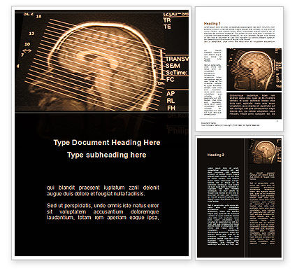 Medical: Brain Tomography Slice Word Template #09785